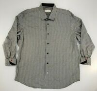 Robert Graham Mens Dress Shirt 46 18 Black/White Striped Long Sleeve Button Up