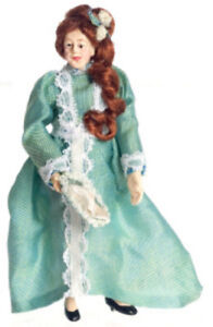 Dollhouse Miniature 1/2 Inch Scale Lady in Green