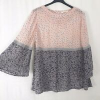 White Stuff Pink Grey & Blue Floral Semi Sheer Blouse UK Size 14