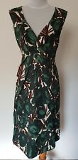 Zara Woman White Green Brown Floral Fit and Flare Dress – size L or 12-14