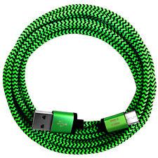 1m Nylon USB C Ladekabel Samsung Galaxy S9 Plus S8 HTC U11 10 LG V30 G6 G5 grün