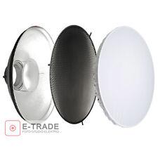 Silber BeautyDish 42cm mit Grid + Diffusor für Moderntex / Bowens / Walimex Lamp