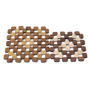 Durable Natural Wood Place Mat Bowl Mat Square Anti Scalding 1Pc Table Mat ON