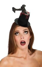 Mini Top Hat with Knife Going Through Bloody Halloween Fancy Dress Womens Adult