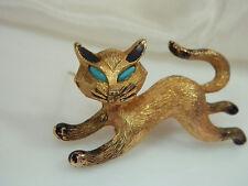 Signed Jj Cute Vintage 1970s Running Siamese Cat Brooch 299B