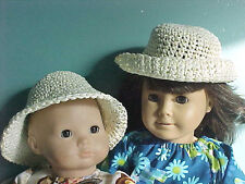 """SOFT """"POSEABLE"""" STRAW HAT in CREAM fits American Girl & Bitty Baby/Twins"""