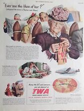 1949 TWA Airlines Granny & Business Men & Family Advertisement