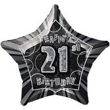 "20"" Happy 21st Birthday Black Sparkle Star Foil Balloon"