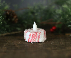 Battery Operated Tealight Candle Candy Cane Peppermint Striped Christmas Decor