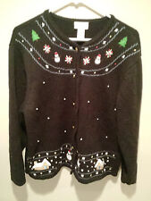 Vintage Ugly Christmas Sweater Tacky - Large L Black Crystal Kobe Holiday Winter