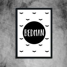Batman Bedman Print Monochrome Wall Art for Boys Childrens Bedroom A4
