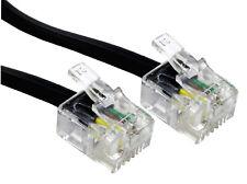 15 mètre Noir Câble Cordon RJ11 6P4C Téléphone ADSL Modem Internet Téléphonique
