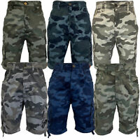 Mens Camouflage Shorts Crosshatch Cargo Combat Knee Length Military Army Summer