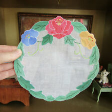 Antique 30s Dollhouse EMBROIDERED FLORAL APPLIQUÉ RUG Handmade Linen Needlepoint