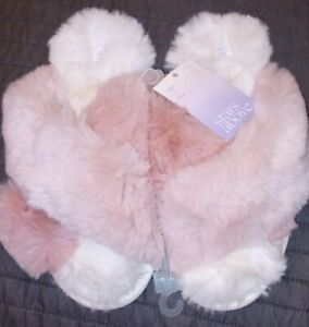 Stars Above Super Soft Furry Slippers Womens 7/8 Brand NWT Pink & White Open Toe