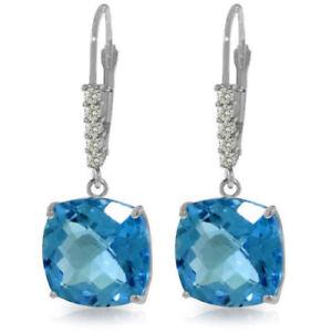 Genuine Blue Topaz Cushion Cut Gems & Diamonds Dangle Earrings 14K Solid Gold