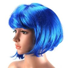 Womens Short 30cm Straight Synthetic Bob Wigs W Side Bangs Cosplay Costume Party Royal Blue