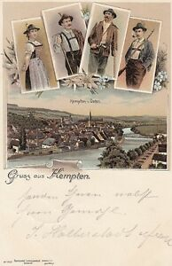 Postcard Bavaria 8960 Greeting From Kempten Traditional Costume 1897