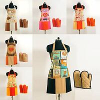New Novelty Digital Printed Modern Kitchen Cooking Apron Oven Gloves Set