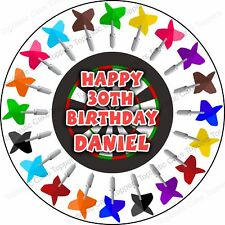 Personalised Darts Sport Dart Board Edible Icing Birthday Party Cake Topper