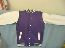 FDM womens Varsity baseball Jacket purple and white size small