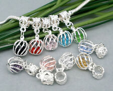 10 Mixed Crystal Cage Dangle Beads. Fit Charm Bracelet