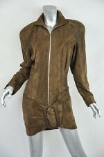 THIERRY MUGLER Brown *SUEDE* Zip-Front MINI DRESS+Belted Hips+Long Sleeve S/40