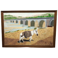Impressionist Art Oil Painting 20th Century Lone Donkey France Philip Frossard