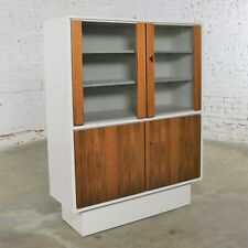 Mid Century Modern Scandinavian Style China Display Cabinet w/ White Case & Teak