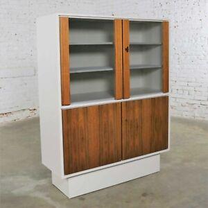 Mid Century Modern Scandinavian Style China Display Cabinet w/ White Case & Teak