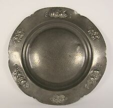 """NORSK Signed Arbeide Norway 16"""" Hand Hammered Scandinavian Pewter Charger Tray"""