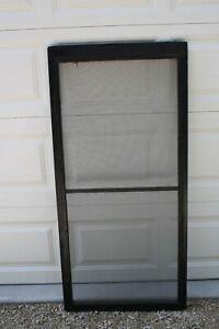 "Vintage Black Farm House Screen Door wood window Screen 58.75"" x 28.5"""