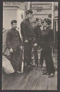 Postcard Royal Marines smoking pipes WW1 military naval