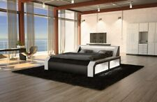 Waterbed Designerbett Modern Matera Leather Double Bed Black White Luxusbett LED
