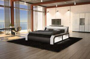 Waterbed Designerbett Modern Matera Leather Double Bed Black White Luxusbett LED