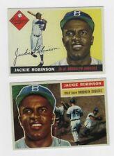 2 cards JACKIE ROBINSON REPRINTS 1955 1956 BROOKLYN DODGERS #42