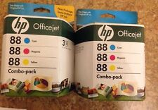 2 Genuine HP 88 Color Combo Packs Factory Sealed, Expired 2010/11 OEM