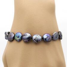 BLAU SCHWARZ ● 10mm ● Zucht Perlen Scheiben Armband ygf 14k Gold 585 (HG 17cm)