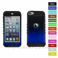 For iPod Touch 5th 6th GEN Gradient Blue Hybrid Rugged Impact Armor Case Cover