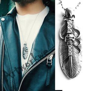 Unisex's Men&women Stainless Steel Feathers&Skull White Zircon Pendant Necklace
