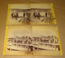 Two Cleveland Ohio Stereoviews Ryder Steam Boat Ship & Logging Area Row Boat