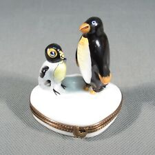 Limoges France Original Trinket Box.Two Penguins Exclusive Chamart.So Cute
