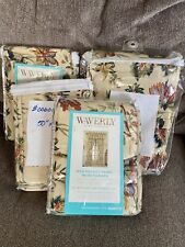 "Lot of 4 Waverly Felicite Creme Rod Pocket Panels 50"" W x 84"" L Floral Curtains"