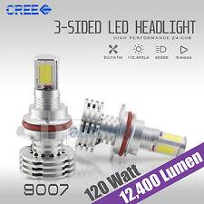 9007 120W 12400LM CREE LED Headlight Kit Light Bulbs 6000K White High/Low Beam