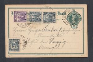BRAZIL 1911 MULTIPLE ISSUES ON UPRATED 50 REIS PS CARD PARA TO LEIPZIG GERMANY