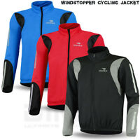 Cycling Jacket Winter Fleece Thermal Windproof Long Sleeve Bike Riding Coat