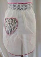 VINTAGE Half Apron with Pocket Sheer White & 60's Atomic Fabric Print