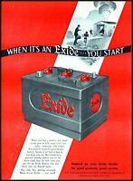 1947 Garage fire Exide Car Battery Philadelphia vintage art print ad adL5