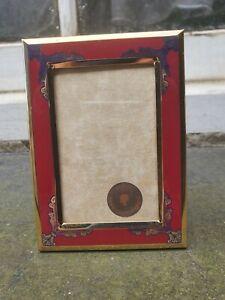 "VINTAGE GOLD METAL ENAMEL GEOMETRIC FRONT PHOTO PICTURE FRAME 3 1/4""W X 4 3/8""D"