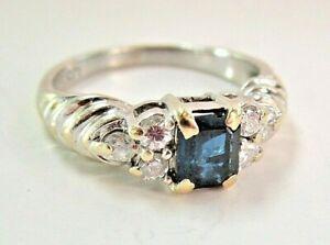 L@@K 14K Yellow White Gold Sapphire w/ Diamonds Engagement Ring size 4.25